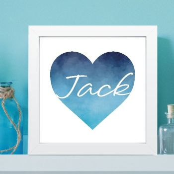 Personalised Heart Watercolour Print - New Baby Gift, Framed Print, Boys, Girls, Christening, Baptism Gift